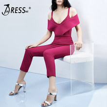 INDRESSME 2019 New Women Fashion Office Lady Sexy Off The Shoulder V Neck Long Pants Party Club Bodycon Casual Jumpsuit Rose Red(China)