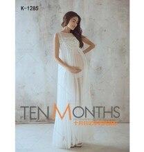 2017 Blanc De Maternité Longue Dentelle Sans Manches Perspective Robes Enceintes Photographie Props Fantaisie Robes De Maternité Grossesse