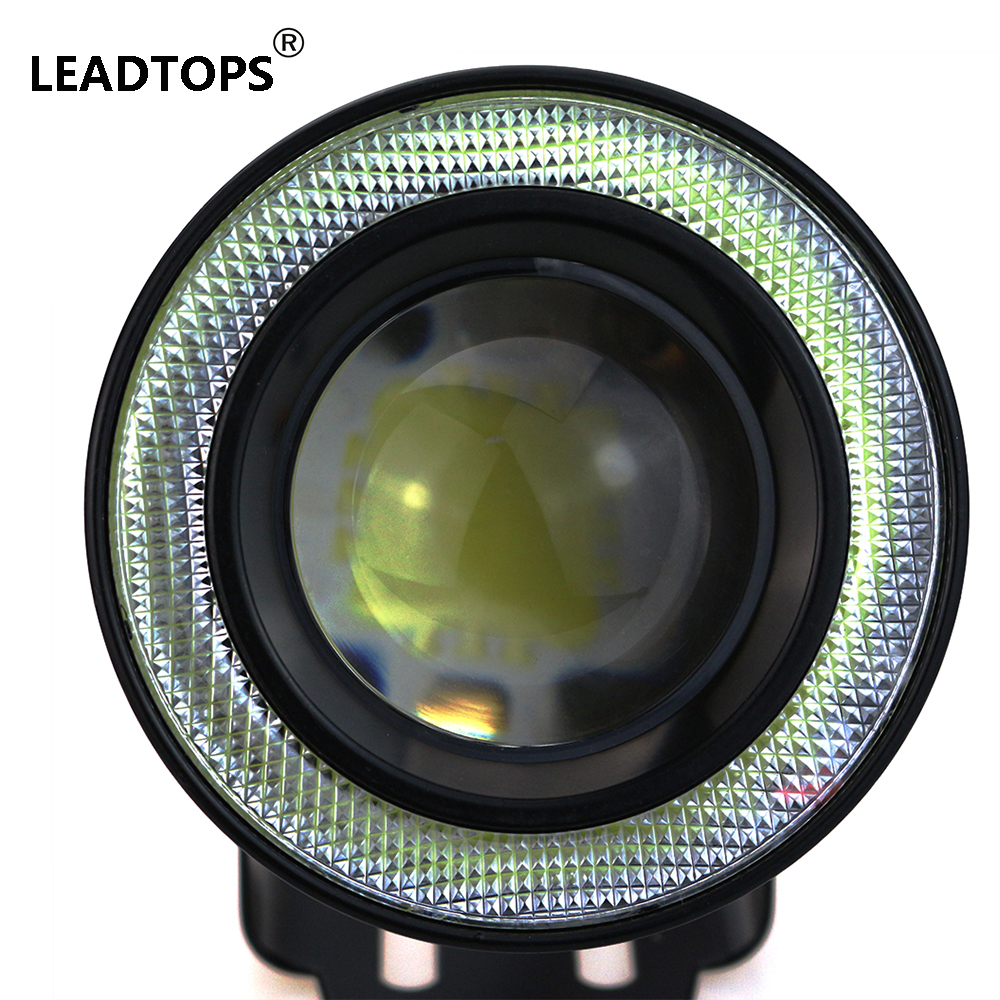 Prix pour Voiture-Style * 2.5 cm Halo Brouillard Lampe LED COB Ange Yeux + Antibrouillard Super = Blanc 1200Lm Feux de jour Running Light DRL De Voiture 64mm BD
