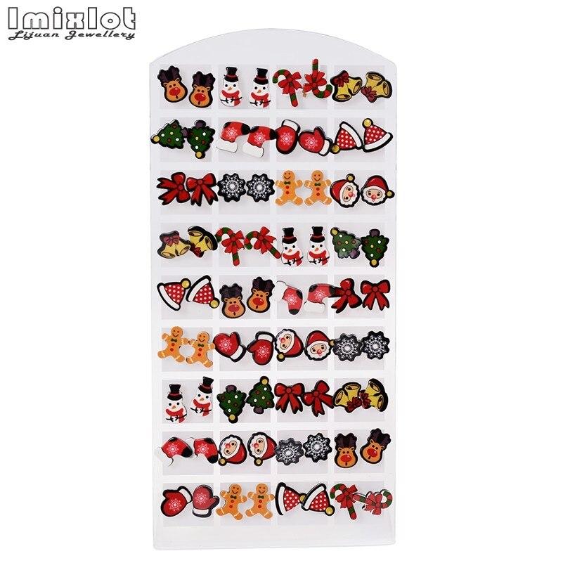 2017 Venta caliente de Navidad 36 par/lote aretes de moda coreanos de diseño mixto para niñas niños Mini Brincos Pequenos