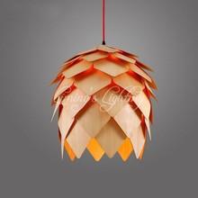Buy Denmark Antique Pinecone PH Artichoke Oak Wooden Pineal Modern Creative Handmade Wood LED Hanging Chandelier Lamp Lighting Light