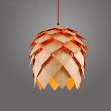 Denmark Antique Pinecone PH Artichoke Oak Wooden Pineal Modern Creative Handmade Wood LED Hanging Chandelier Lamp Lighting Light