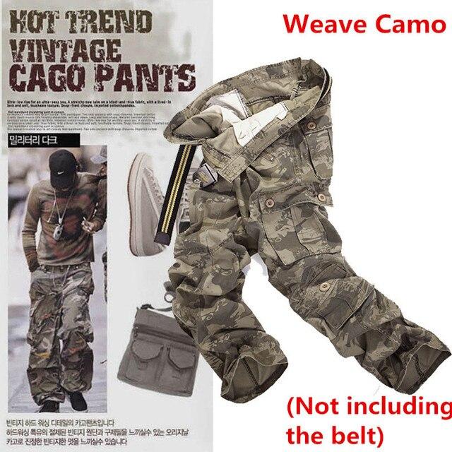 Pantalones Cargo de camuflaje del ejército militar para hombre, 9 colores, multibolsillos, informales, rectos, largos, holgados, pantalones de camuflaje tácticos (sin cinturón)