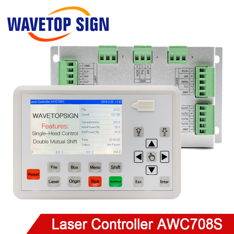 Free Shipping WaveTopSign Trocen AWC708S CO2 Laser Controller System for Laser Engraving Cutting Machine Replace AWC708C