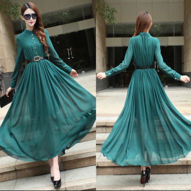 2015 Aliexpress New Europe retro long sleeve dresses,floor length ...