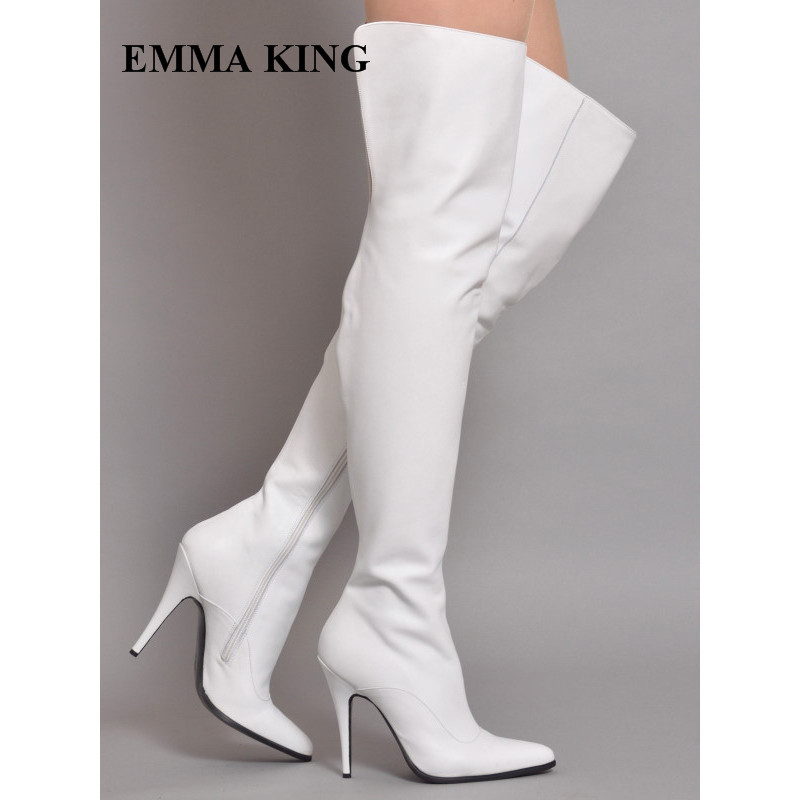 Sexy Ladies White Stretch Women Winter Over The Knee Long Boots Leather Pointed Toe High Heels Shoes Stilettos Thigh High BootsSexy Ladies White Stretch Women Winter Over The Knee Long Boots Leather Pointed Toe High Heels Shoes Stilettos Thigh High Boots