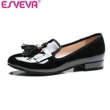 Esveva/2017 г. квадратный Женские туфли-лодочки на низком каблуке лакированная кожа Демисезонная женская обувь без застежки с бахромой; свадебные туфли Размеры 34–43