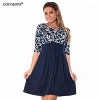 Large Size 6XL Summer Dress 2016 Plus Size Midi Dress Casual Patchwork Loose Dresses Plus Size