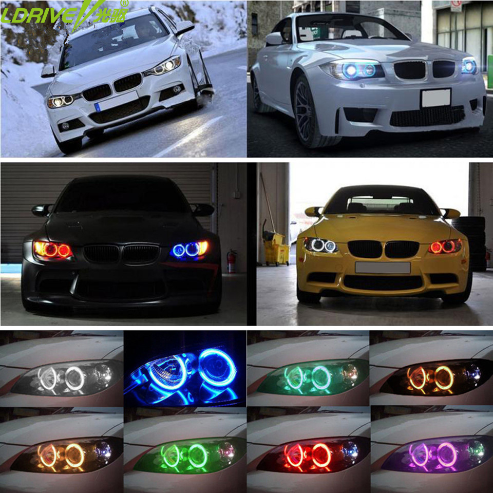 4PC Super Bright LED Angel Eyes Halo light Headlights 42 RGB 5050 SMD Angel Eyes Wireless Remote Kit For BMW E36 E38 E39 E43 E46 4 90mm rgb led lights wholesale price led halo rings 12v 10000k angel eyes rgb led angel eyes for byd for chery for golf4