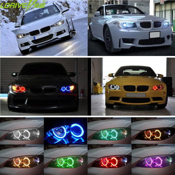 4PC Super Bright LED Angel Eyes Halo light Headlights 42 RGB 5050 SMD Angel Eyes Wireless Remote Kit For BMW E36 E38 E39 E43 E46 image