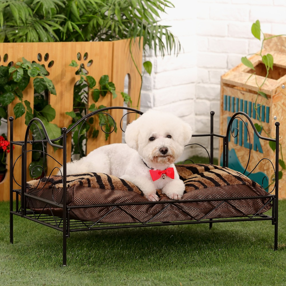 domestic delivery luxurious pet bed metal frame bed for dogs pets house puppy bed for pet cat cushion mats furniture tiger zebrain houses kennels u0026 pens