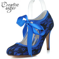 Creativesugar Elegante rendas sapatos de inicialização das mulheres lace up bombas elegantes sapatos de salto festa de casamento nupcial prom rosa azul royal fechado do dedo do pé
