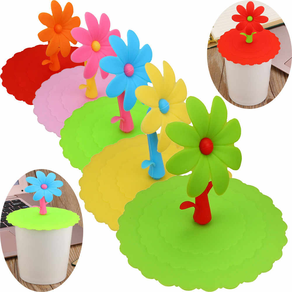 Super cute bow shape clean sanitary Sunflower Lace Dust Reusable Silicone Cover Cup DIY Free Splicing Thermal Insulation Cover