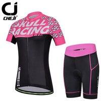 Cartoon Skull Ladies  CHEJI Cycling Clothing Short Sleeve Bike Jerseys And  MTB Padded Shorts Set b513aa665