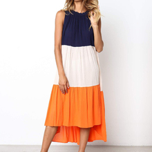 Kimuise sexy sleeveless patchwork women dress 2019 midi length shift casual femme o neck off shoulder summer