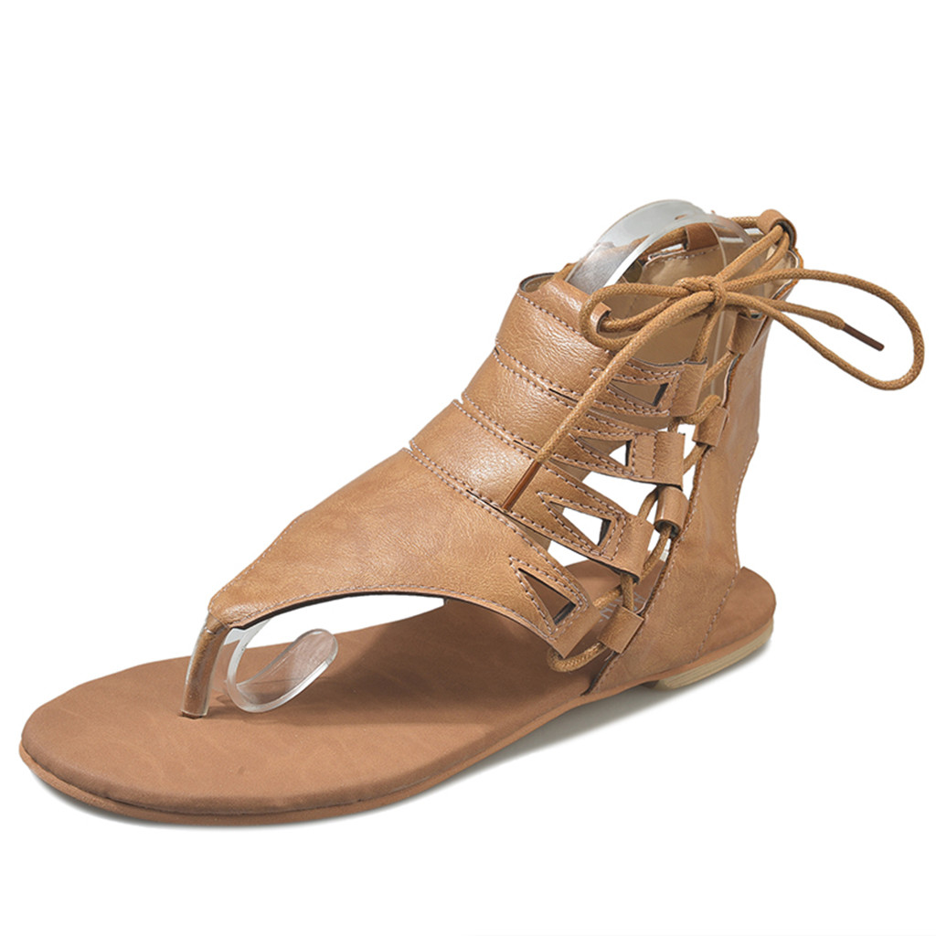 Sandals Roman Shoes Comfort Female Flat Casual Fashion Women Ladies Solid Footwear Ankle