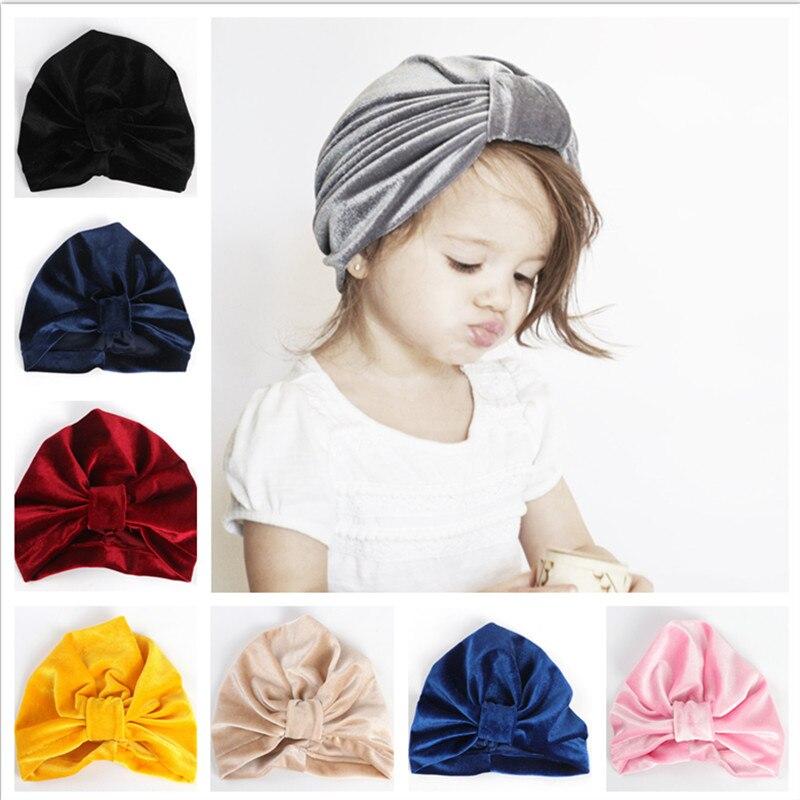 1pcs 2018 New Bebe Girls Velvet bows Knot Turban   Beanie   Hat Muslim India Hat Bohemian turbans cap