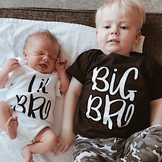 Family Matching Summer T-shirt Big Bro & Lil Bro BoyTees Newborn Toddler Romper Big Brother Little Brother Sibling Outfits