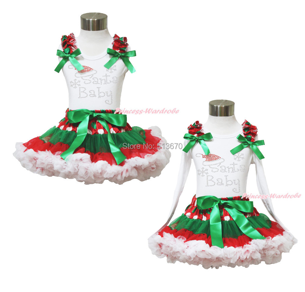 Xmas Rhinestone SANTA BABY Top Green White Dot Red Skirt Baby Girl Outfit 1-8Y MAPSA0048 st patrick s day green clover white top satin trimmed baby girl skirt set 1 8y mapsa0394