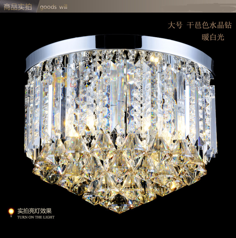 Фото 350MM dining room diamond crystal ceiling lamp bedroom modern ceiling light girl