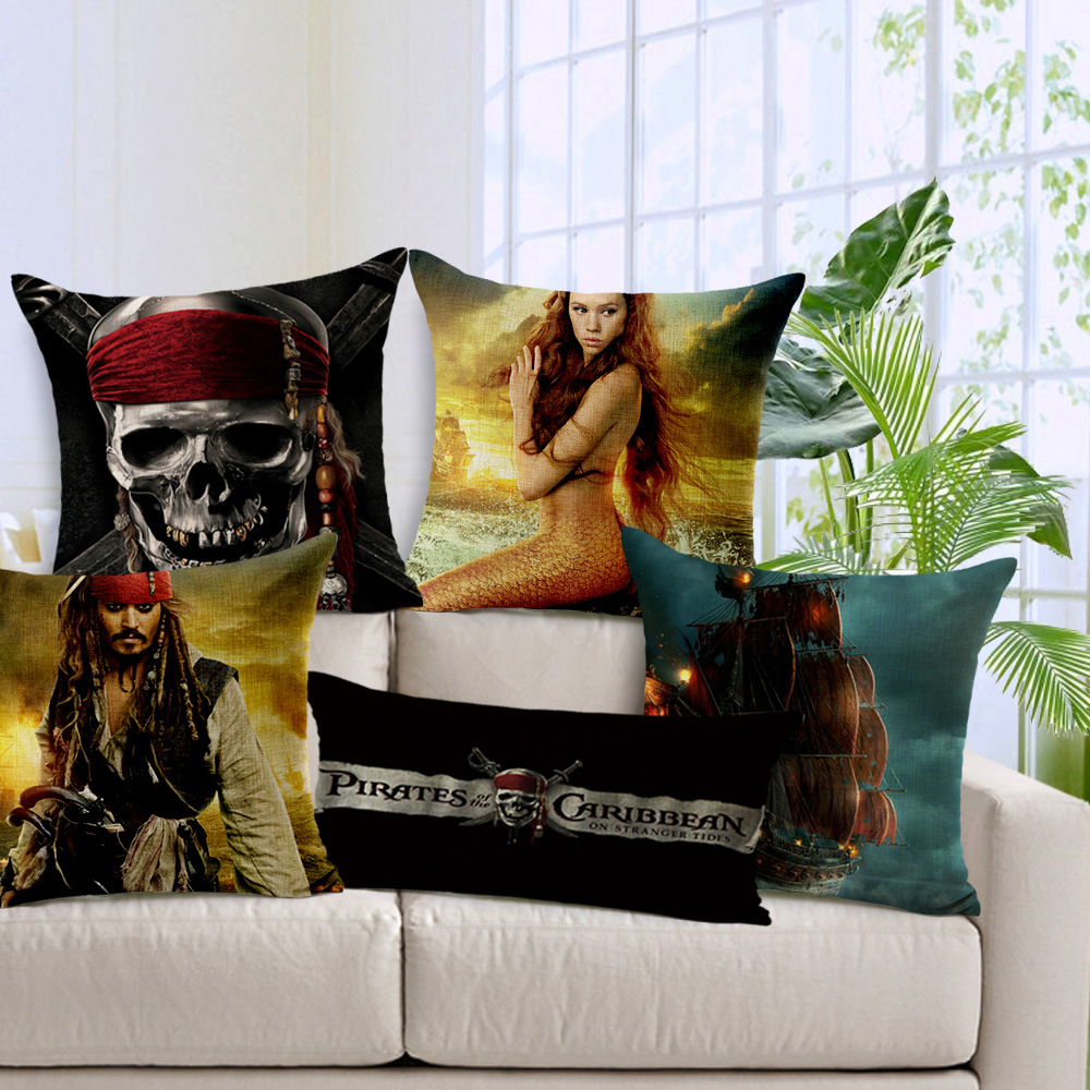Swell Us 11 54 23 Off Pirates Of The Caribbean Jack Mermaid Skulls Cushion Covers Decorative Sofa Chair Pillow Cover Linen Cotton Pillow Case In Cushion Dailytribune Chair Design For Home Dailytribuneorg