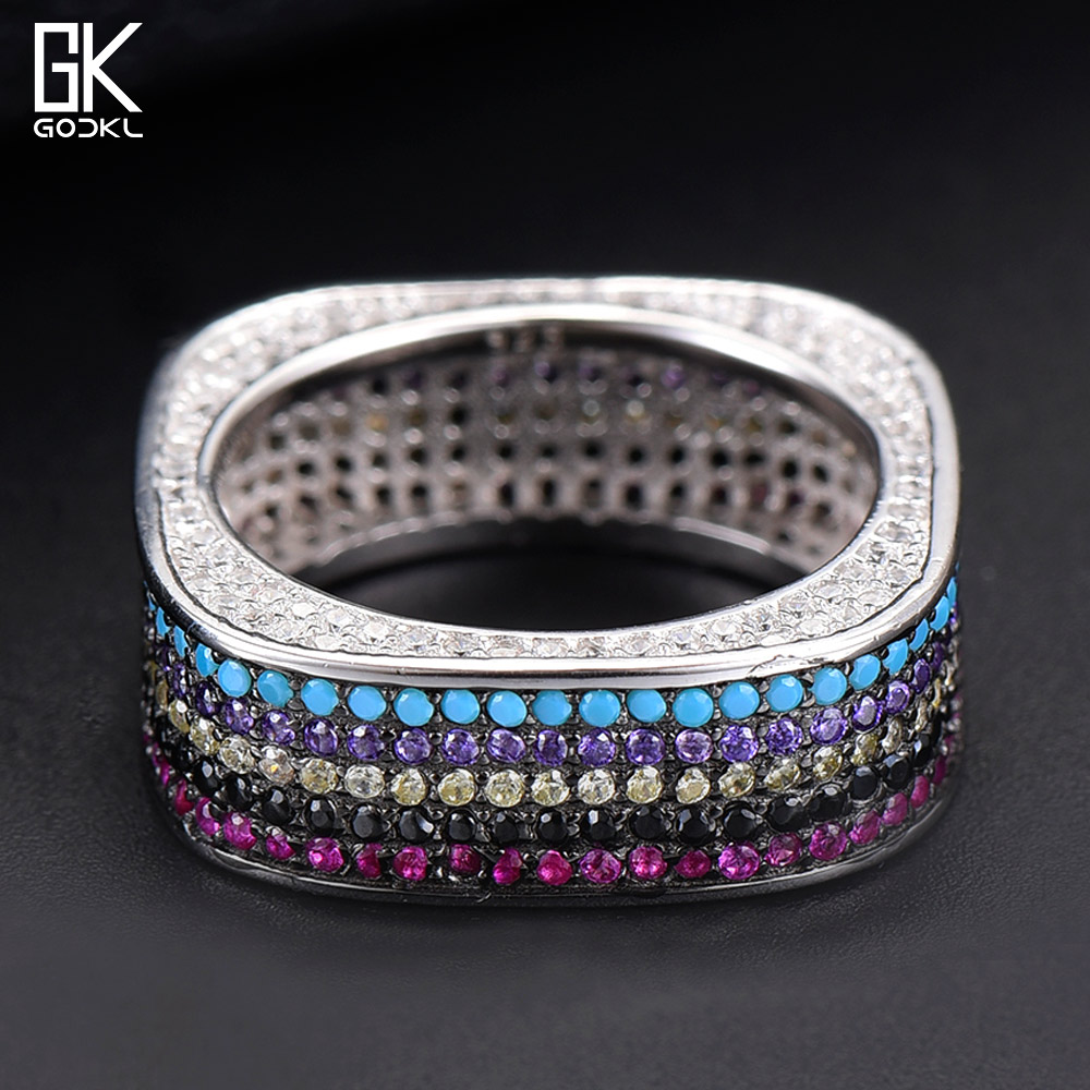 GODKI Luxury Square S925 Sterling Silver Stackable Rings for women Wedding Multicolor CZ Zirconia Dubai Bridal Ring Bohemian HOT
