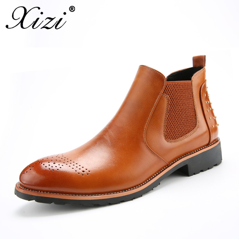 xizi 2018 New Arrival Luxury Brand Man Comfortable Shoes Male Genuine Leather Men's Cowboy Western Martin Chelsea Ankle Boots new arrival man luxury brand cowboy western shoes male designer genuine leather round toe men s cowboy martin ankle boots ke62 page 3