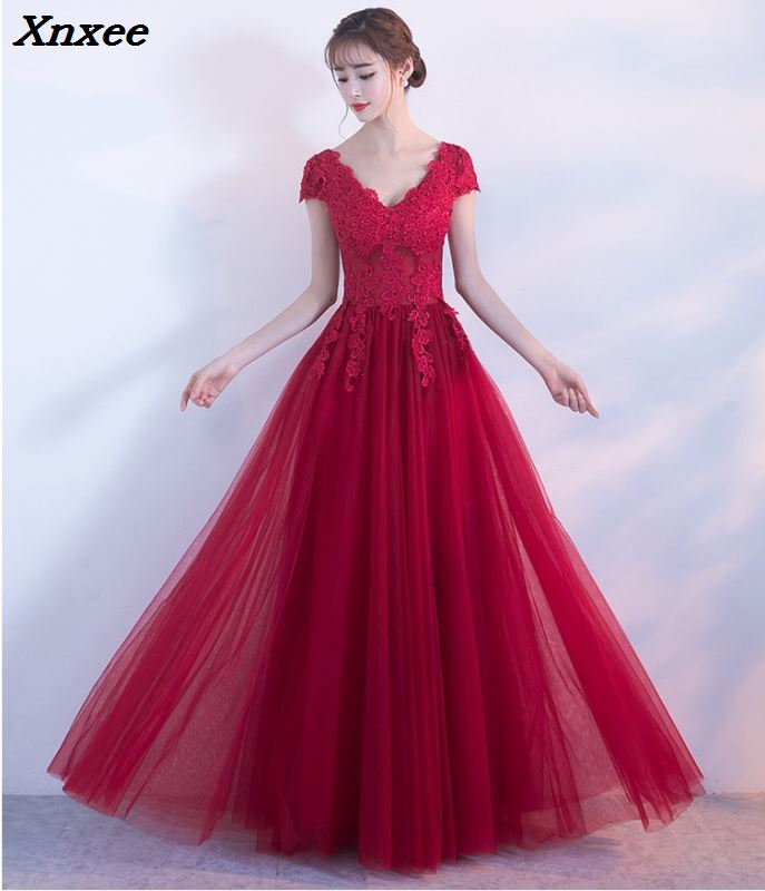2018 Elegant Red Summer Long Dress Female Vestidos Dresses Women Top Lace Vintage Dress Evening Party