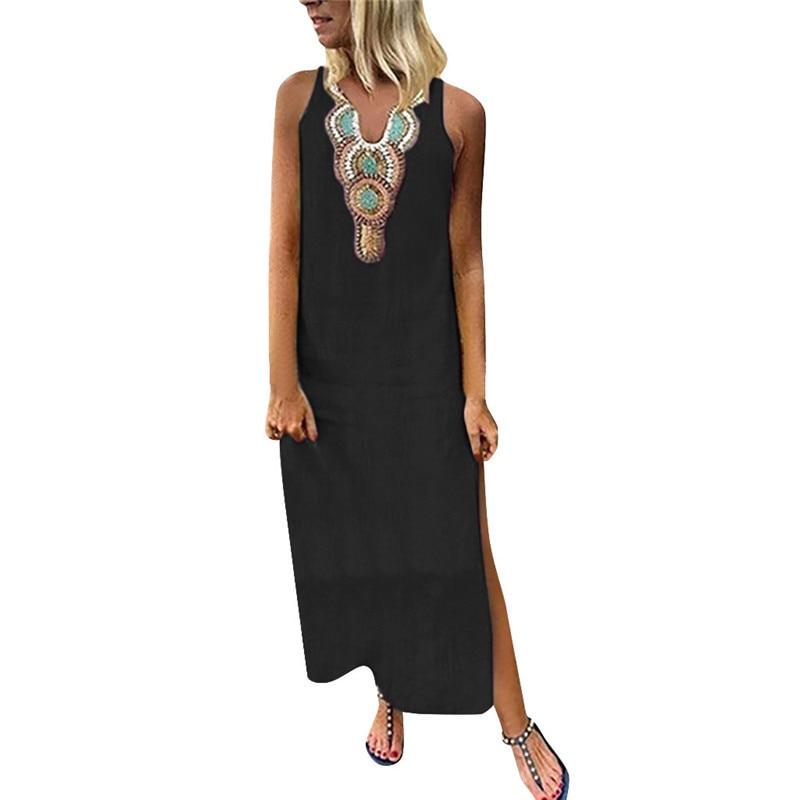 2019 Women Bohemia Split Long Dress Elegant Printed Sleeveless V-neck Maxi Dress Summer Vintage Beach Dresses Female Sundresses