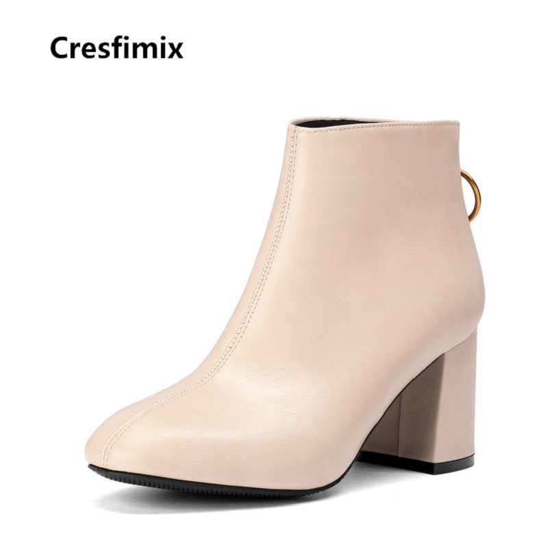76fcc0a1c Cresfimix women fashion comfortable pu leather round toe boots lady cute  beige autumn high heel boots
