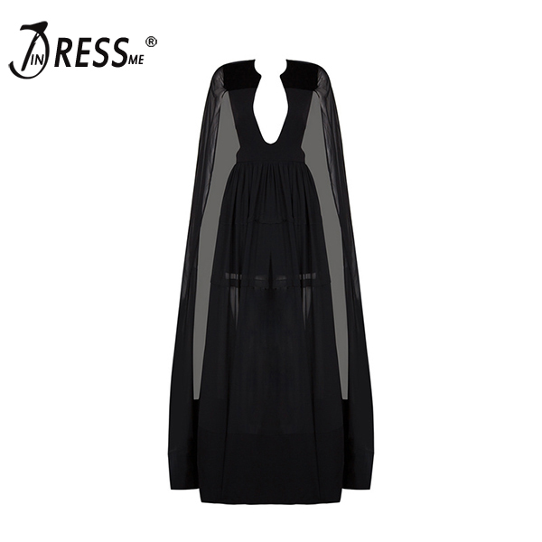 INDRESSME 2017 Spring Celebrity Runway Playsuit Black V-Neck Long Cape Batwing Sleeve Rompers Women Jumpsuit Sexy Bodysuits batwing sleeve button jumpsuit