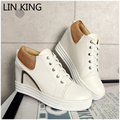 LIN KING New Women Casual Shoes Solid Lace-up Height Increase PU Wedges Short Shoes Massage Round Toe Platform Shoes Plus Size