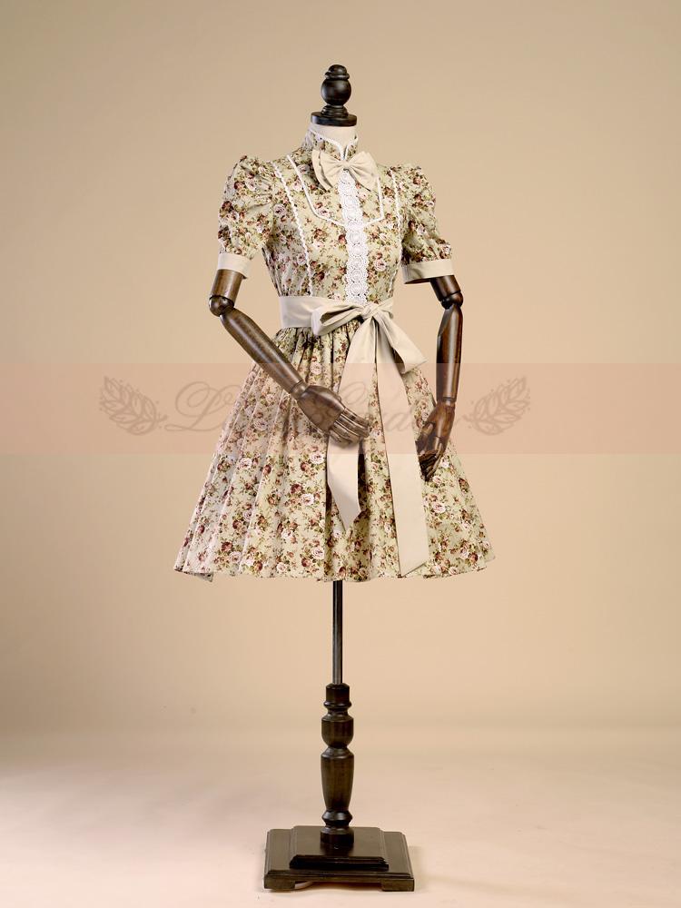 Popeline Vintage Femmes Manches Floral Europe Imprimé Rétro D'origine Robe Lolita Style Fille Robes Coton Mori Bouffée SAvIHqxn