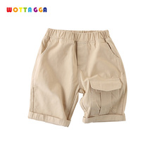 WOTTAGGA 2019 Summer Solid Color Linen Pleated Children Ankle-length Pants for Baby Boys Pants Pockets for Kids Child 2 7 yrs linen pleated kids pants hot 2018 summer girls boys pants children ankle length pants harem pants baby boy girl clothes