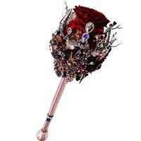Дорогой Готический букет невесты скипетр Кристаллы Стразы черные перья красные розы свадебный букет fleur artificielle mariage