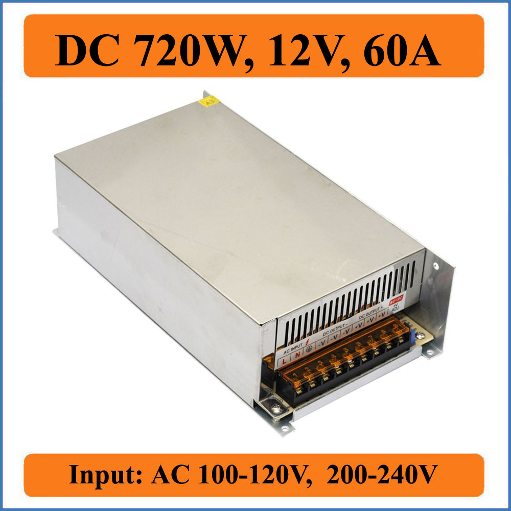 720W 12V 60A Triple Output Switching Power Supply for LED Strips Lights Bulb , AC 100-240V input Transformer to DC 12V Output 720w 12v 60a led switching power supply 12v 60a power supply 12v output 85 265ac input free shipping
