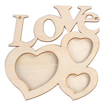 Hot Special Hollow Love Wooden Photo Frame DIY Picture Frame Art Decor White Base Photo Frame Wedding(China)