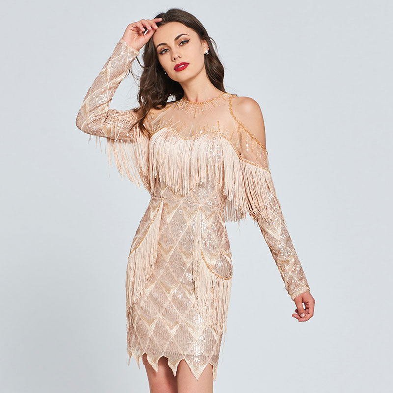 Tanpell scoop neck cocktail dress tassel sequins long sleeves mini length gown women party formal custom sheath cocktail dresses
