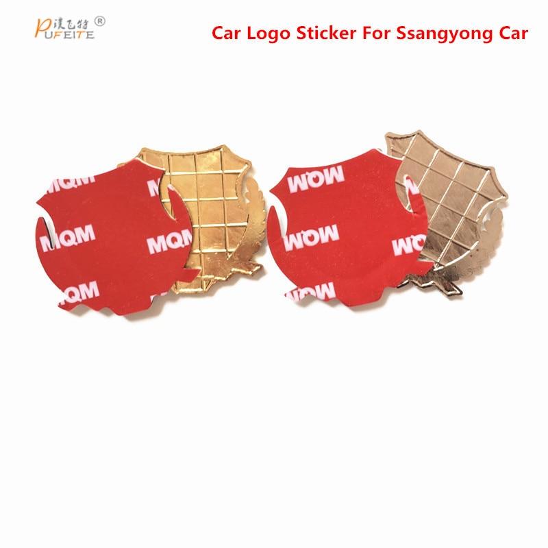 2/pcs metal stickers for ssangyong ActYon Korando Rexton DIY 3D chromed car sticker logo car emblem car badge accessories auto chrome camaro letters for 1968 1969 camaro emblem badge sticker