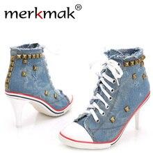 Merkmak New Vintage Rivet Pumps Women Ladies 2016 Lace-Up Canvas High Heels Girl Casual Denim Pumps Rivets Sexy Cool Punk Shoes