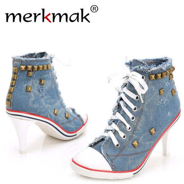 Merkmak Nuevo Vintage Rivet Bombas Señoras de Las Mujeres 2016 Con Cordones de la Lona zapatos de Tacón alto de La Muchacha de Mezclilla Ocasional Bombas Remaches Sexy Punky Fresco zapatos