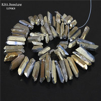 Polished Smooth Titanium Gold Pyrite Quartz Rough Point Drilled Briolettes Beads 19-35mm 16 inch,Druzy Stone Pendant Beads