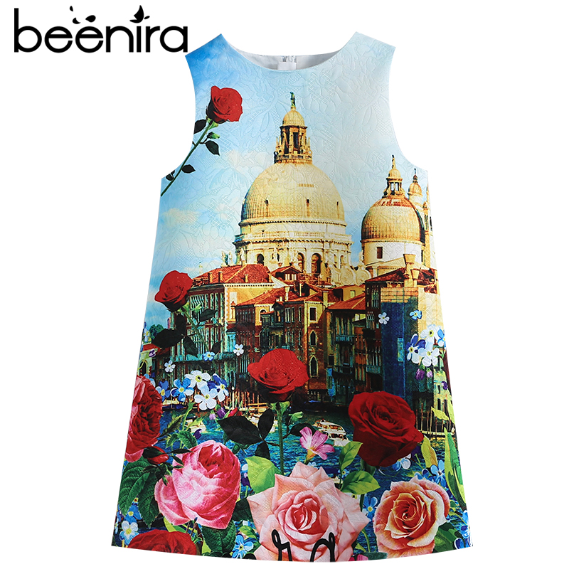 Beenira Girls Dresses 2017 New Fashion Style Castle Garden Printed Sleeveless Princess Dress Design For 4-14Y Children Dress slit printed sleeveless pencil dress