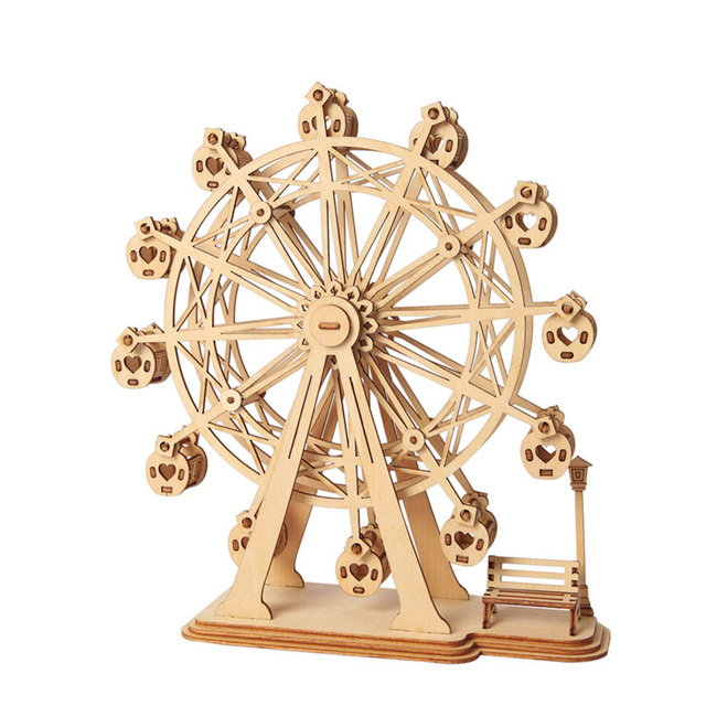 NFSTRIKE 3D Movement Assembled Wooden Painting Jointed Model Steam Stem Puzzles Toys Ferris Wheel Model Building Kits for kids