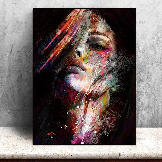 Canvas Painting Wall Art Pictures prints colorful woman on canvas no ...