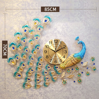 Large Peacock Wall Clock Home Decor Wall Watch Living Room And Bedroom Silent Clock Wall Metal Nordic 3D Digital Wall Clocks