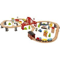 70pcs Kids Road Crossing Track DIY Assembly Set Wooden Train Model Building Kit with with engine coaches bridge city vehicles