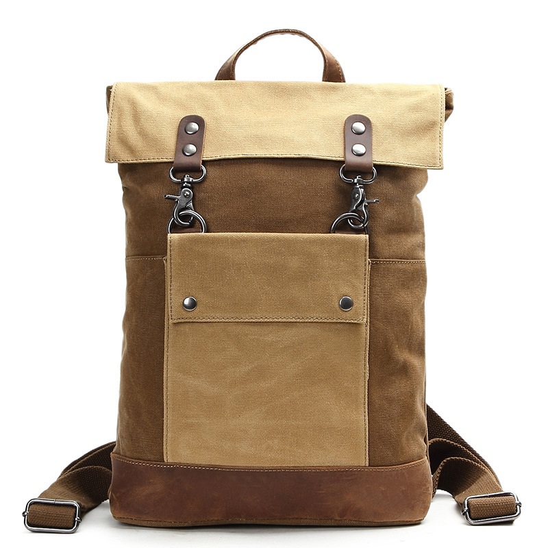 1a7aed7e0957 US $37.05 35% OFF|Vintage Waterproof Canvas Leather Laptop Backpacks for  Men College Students School Bags Teenagers Women Travel Daypacks-in  Backpacks ...