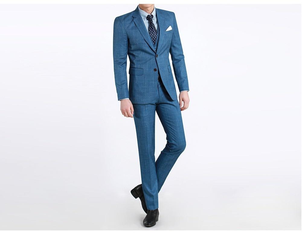 Slim Fit Groom Tuxedo Μπλε Groomsmen Notch Lapel Γιορτές - Ανδρικός ρουχισμός