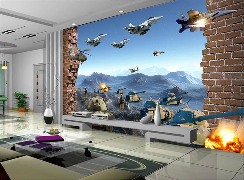 Custom 3d mural wallpaper Non-Woven wallpaper 3D war aircraft Tank brick photo living room TV backdrop bedroom photo wallpaper rustic living room bedroom wallpaper romantic floral wallpaper non woven wallpaper